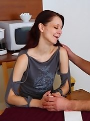 Lewd teacher finally fucked hot coed on his kitchen. He put her on the table and penetrated her wet cunt when suddenly his wife catched them.